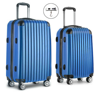 Wanderlite Set of 2 Hard Shell Luggage Trolley Cabin Travel Suitcase TSA Lock