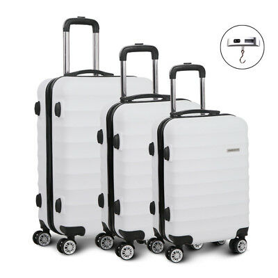 Set of 3 Hard Shell Luggage Lightweight Trolley Cabin Travel Suitcase TSA Lock