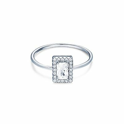 Elegance Princess Cut Tower Ring in Sterling Silver Rhodium Plated