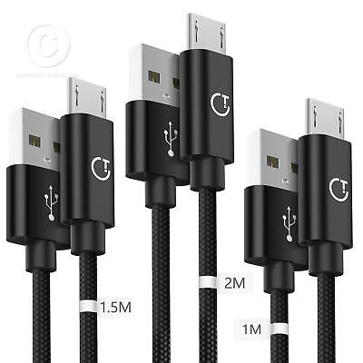 For Samsung Micro Usb Kabel 3 Stück 1M 1.5M 2M Nylon Cable Ladekabel 2.4A New
