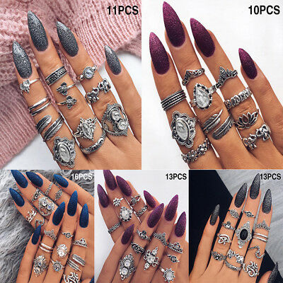 Bohemian Vintage Retro Midi Finger Knuckle Rings Set Silver Finger Ring Jewelry
