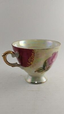 Vintage Hand Painted Gold Plated Japanese Tea Cup Flower Design