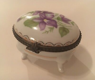 Pretty Little Jewellery Trinket Box Porcelain Violets Footed French Style