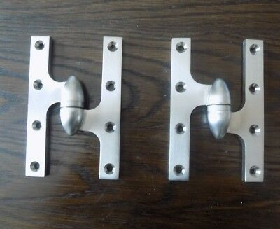 """TWO (2) NEW Deltana Olive Knuckle Hinges 6""""x4"""" Brushed Nickel - Right Hand"""