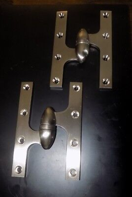 """Two (2) NEW Deltana Olive Knuckle Hinges 6""""x4"""" Brushed Nickel - Left Hand"""
