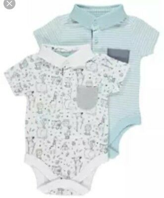 Baby Boy 3-6 Months Polo Shirt Bodysuits Blue Cream Animal Patterned