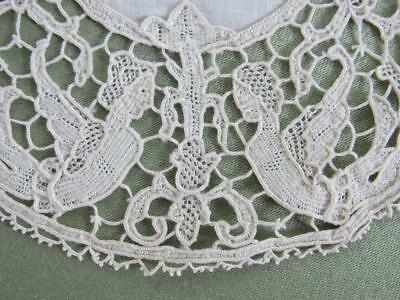 "Antique Needle Lace Figural Doily 6-7/8"" Round Hand Made Lace EXQUISITE"