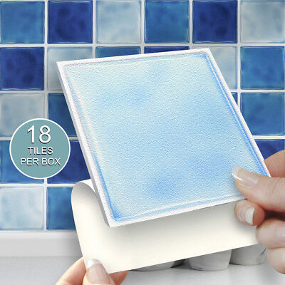 "18 Blue Mix 4"" x 4"" Stick On Self Adhesive Tile Stickers Kitchens & Bathrooms"