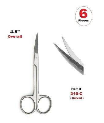 """6 Pcs Iris Scissors 4.5"""" (Curved) Medical & Surgical Instrument Stainless Steel"""