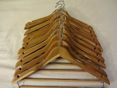 Mens Wearhouse Cedar Wood Hangers with Trouser Bar for Suits, Pants, and Shirts