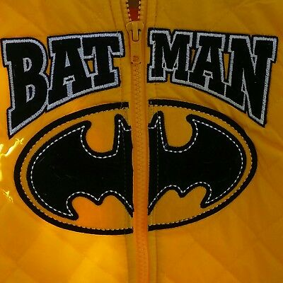Batman Yellow Lightweight Vest Black Logo Quilted Hooded Zip Up Boys Size 5T