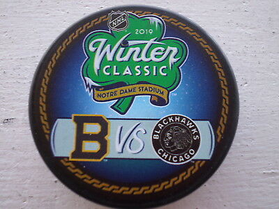 2019 Official WINTER CLASSIC Puck  BRUINS vs BLACKHAWKS at Notre Dame Stadium