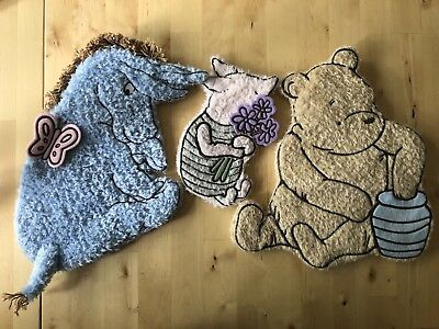 Classic Winnie The Pooh Plush Wall Hanging Loy Set Eeyore Piglet EUC