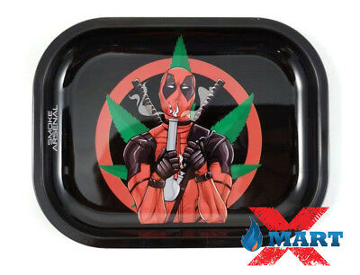 "Smoke Arsenal DANKPOOL ""Deadpool"" Cigarette Tobacco Metal Rolling Tray 7x5"