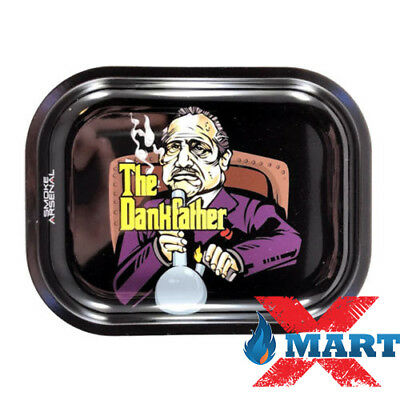 Smoke Arsenal THE DANKFATHER Cigarette Tobacco Metal Small Rolling Tray 7x5