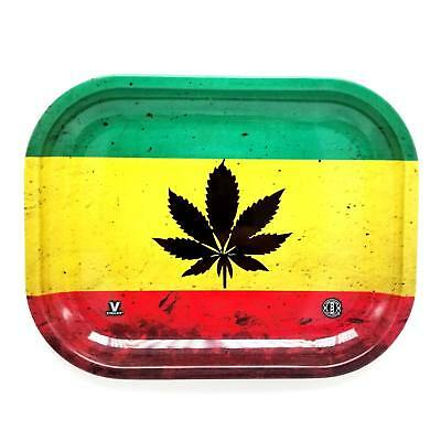V-Syndicate RASTA LEAF Cigarette Tobacco Metal Small Rolling Tray 7x5