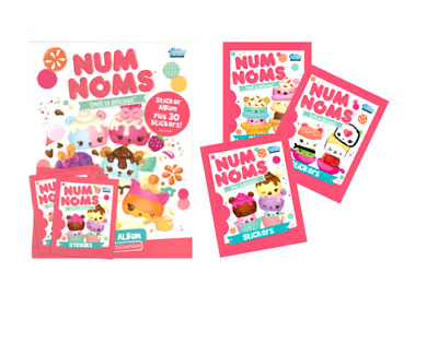 Topps Num Noms Sticker Collection Starter Pack - Album + 16 Packs (105 Stickers)
