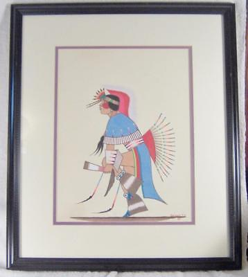 Fancy Dancer Orig Signed 1983 Painting by Artist Geo. Geionety, Comanche/Kiowa
