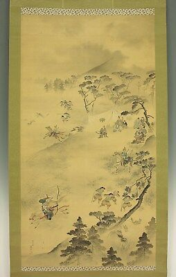 "TOSAI (1850-1899) ""Hunting Animals Scenery"", Japanese Large Hanging Scroll"
