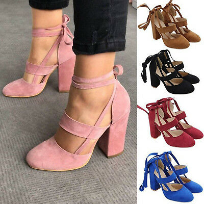 Women Block Chunky Heel Lace up Sandals Platform Pumps Heels Summer Casual Shoes