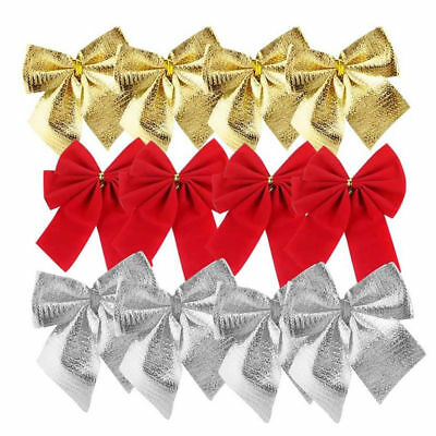 24X Christmas Tree Bow Decoration Baubles XMAS Party Bows Red Silver Gold