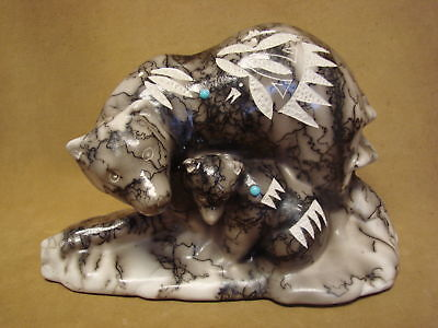 Native American Pottery Turquoise Horse Hair Mother Bear Sculpture! Navajo