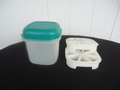 vintage retro tupperware green ice bucket 2 ice cube trays