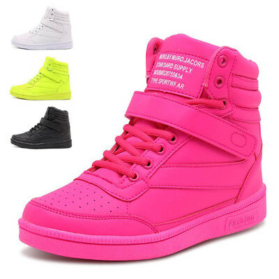 Women Sneakers Lace up High Top Boots Shoes  PU Leather Breathable Casual Shoes