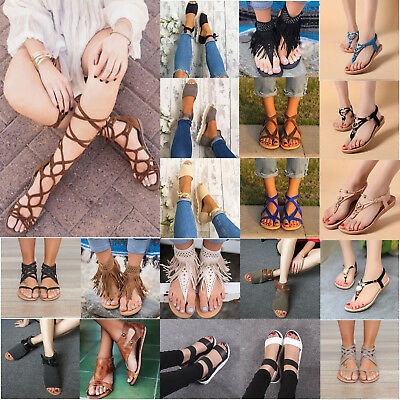 Womens Flats Sandals Summer Shoes Ladies Lace Up Gladiator Slip Flip Flop Thongs