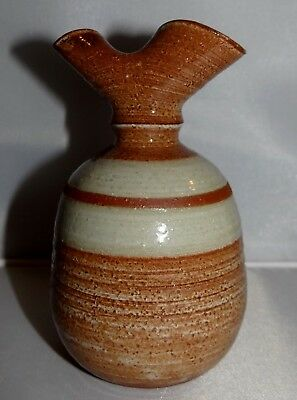Hand Thrown Brown Glazed Pinched Top Double Fluted Oil Lamp / Cruet  Cc Pottery