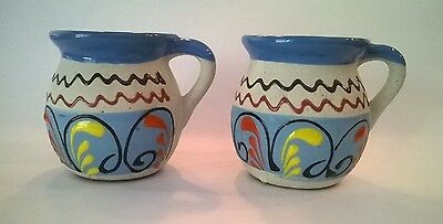 Set Of 2 Mexican Pottery Coffee Mugs Cups Hand Painted Folk Art Colorful Clay