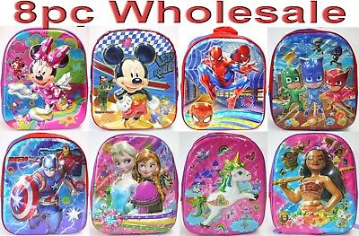8pc Wholesale Kids Children 4D PJ Masks Moana Frozen Unicorn Backpack Bags Mix