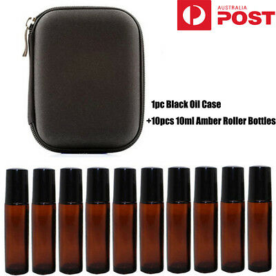 10 10ml Amber Glass Roll on Roller Bottles Essential Oils Perfume w/ Case Bag LG