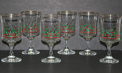 6 Arby's Libbey Christmas Holly Berry Stemmed Water/Wine Glasses