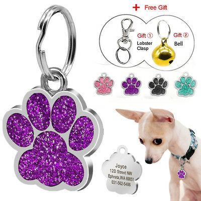 Cute Paw Print Cat Dog Tag Personalized Free Laser Engraved Pet Name Identity