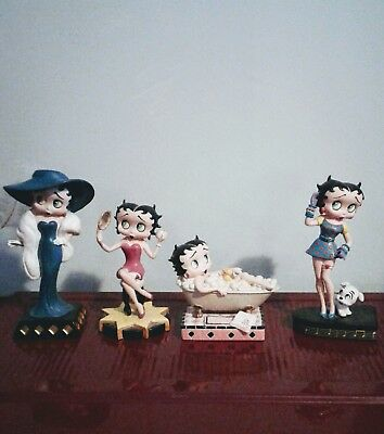 4 BETTY BOOP Collector Figurines Lot Bathing Betty Sings The Blues Glamour Girl