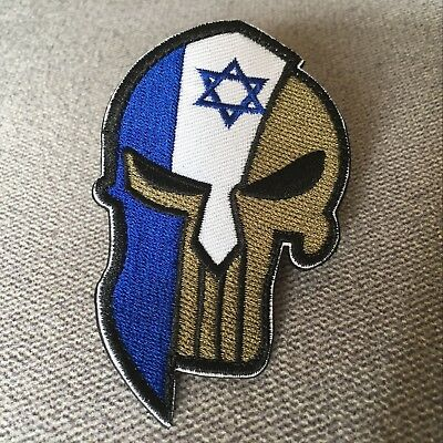 Embroidered Spartan Israel Israeli Flag Hook Loop Patch Star of David Jewish