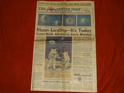 "An Original MOON LANDING The Denver Post "" LUNAR-WALK"" Sunday July 20, 1969"