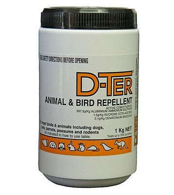 D-TER, DTer Animal & Bird Repellant  Repel Dogs, Cats, Possum,Kangaroos  1Kg