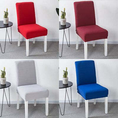 Solid Color Stretch Spandex Chair Seat Covers For Dinning Room Wedding Banquet