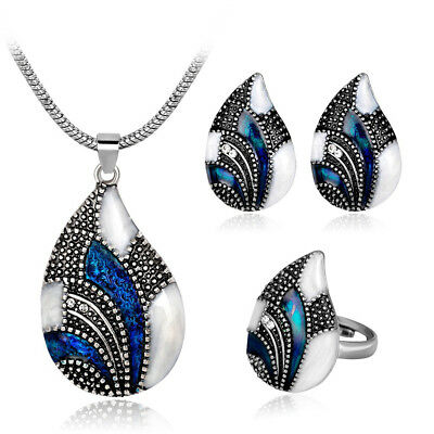 Fashion Women Rhinestone Pendent Chain Necklace Earrings Ring Jewelry Set Gift