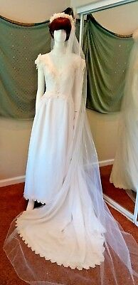 Vintage Piccione Wedding Dress Sheer Embellished w/ Petticoat and Bianchi Veil