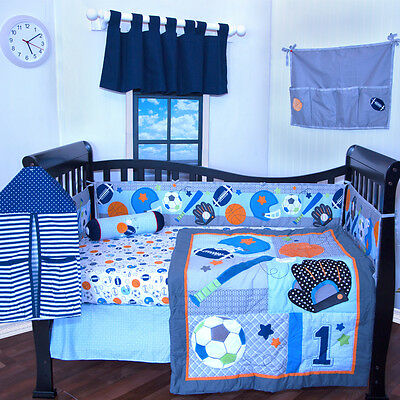12 pieces Baby Boy crib bedding set,Sports,Foot ball,sports,blue,Bumper included