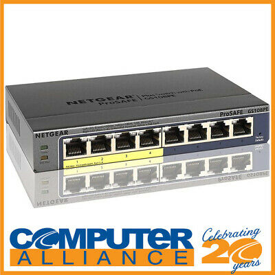 8 Port Netgear GS108PE Gigabit Switch with Power over Ethernet