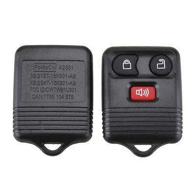 Black Portable Keyless Entry Replacement 3 Button Remote Key Shell For Ford