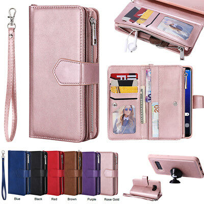 Galaxy Note8 9 S8 S9 S10+ For Samsung Removable Leather Zipper Wallet Case Cover