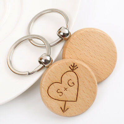 Personalised Engraved Wooden Keyring - Anniversary Keyrings, Wedding Keyrings