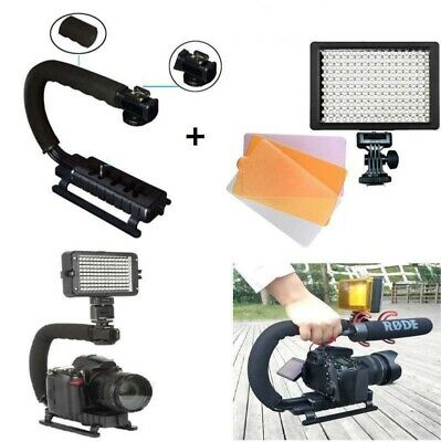 160 LED Video Light Photo Lamp+ Camera Stabilizer Hand Grip For Canon Nikon DSLR