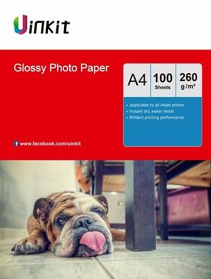 100Sheets A4 260Gsm Thick High Glossy Photo Paper Inkjet Paper Printer Uinkit