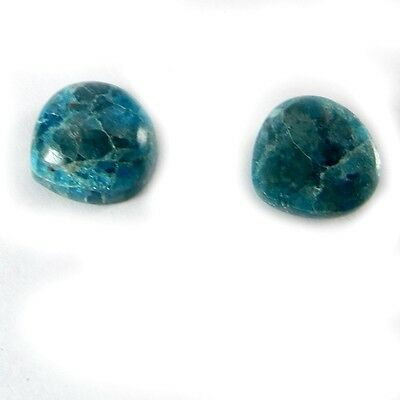 2 Pcs Natural Neon Apatite 12mm Heart Cabochon 13.25 Cts Loose Gemstone ER2993
